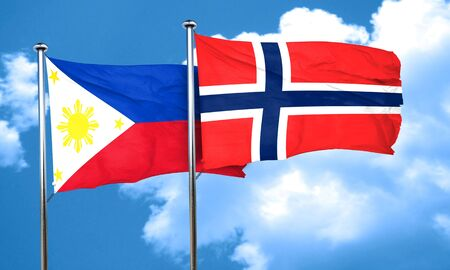 norway flag: Philippines flag with Norway flag, 3D rendering Stock Photo