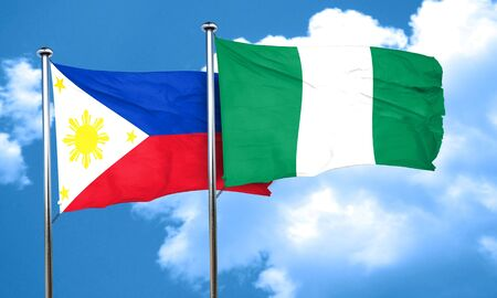 philippino: Philippines flag with Nigeria flag, 3D rendering Stock Photo