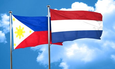 netherlands flag: Philippines flag with Netherlands flag, 3D rendering