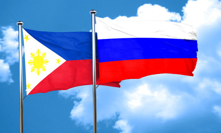 philippino: Philippines flag with Russia flag, 3D rendering Stock Photo