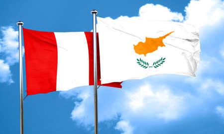 bandera de peru: bandera de Perú con la bandera de Chipre, 3D