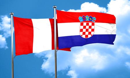 croatia flag: Peru flag with Croatia flag, 3D rendering Stock Photo