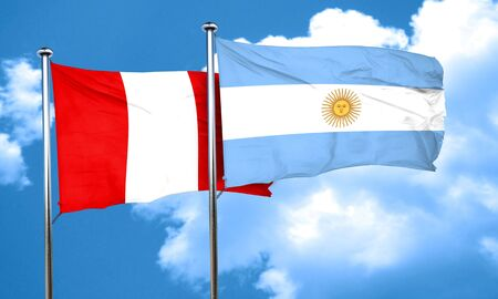 argentine: Peru flag with Argentine flag, 3D rendering