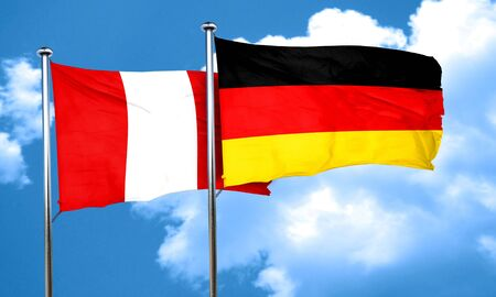 bandera peru: bandera de Per� con la bandera de Alemania, 3D Foto de archivo