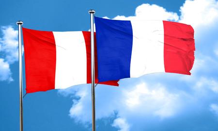 bandera de peru: bandera de Perú con la bandera de Francia, 3D Foto de archivo