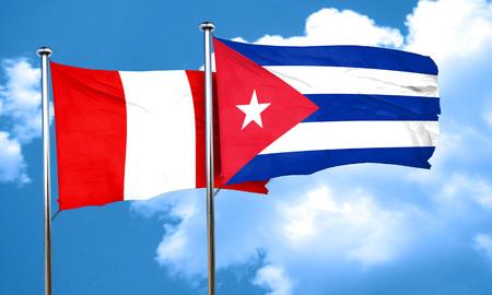 cuba flag: Peru flag with cuba flag, 3D rendering