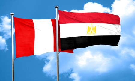bandera de peru: bandera de Perú con la bandera de Egipto, 3D