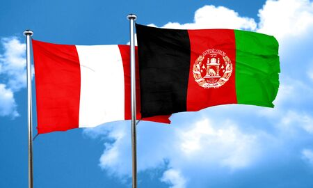 bandera de peru: bandera de Perú con la bandera de Afganistán, 3D Foto de archivo