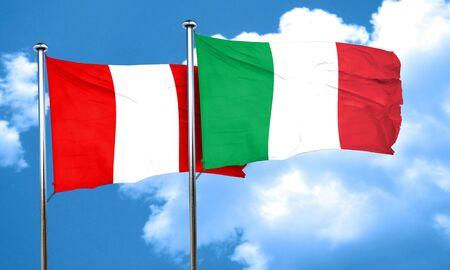 italian politics: Peru flag with Italy flag, 3D rendering