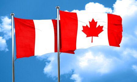 bandera de peru: bandera de Perú con el indicador de Canadá, 3D