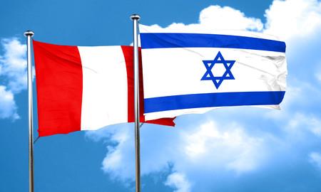 israeli: Peru flag with Israel flag, 3D rendering