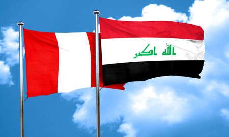 bandera de peru: bandera de Per� con la bandera de Irak, 3D