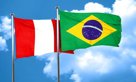 bandera peru: bandera de Per� con la bandera de Brasil, 3D Foto de archivo