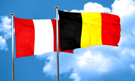 bandera peru: bandera de Per� con la bandera de B�lgica, 3D
