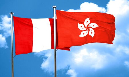 bandera peru: bandera de Per� con la bandera de Hong Kong, 3D