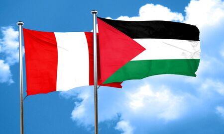 bandera de peru: bandera de Per� con la bandera de Palestina, 3D Foto de archivo