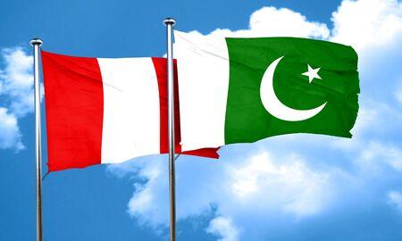 flag of pakistan: Peru flag with Pakistan flag, 3D rendering Stock Photo