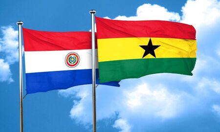 ghanese: Paraguay flag with Ghana flag, 3D rendering