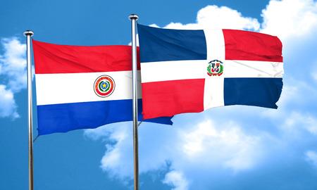 bandera de paraguay: bandera de Paraguay con la bandera de República Dominicana, 3D