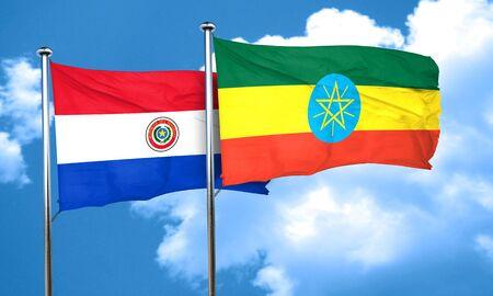 bandera de paraguay: bandera de Paraguay con la bandera de Etiop�a, 3D