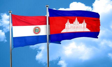 bandera de paraguay: bandera de Paraguay con la bandera de Camboya, 3D