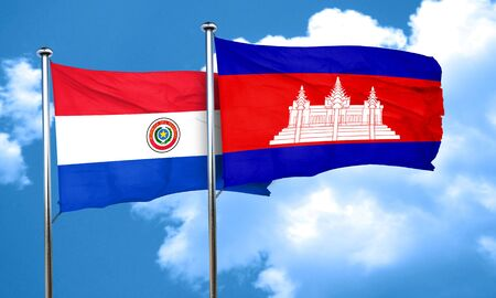 cambodian flag: Paraguay flag with Cambodia flag, 3D rendering Stock Photo