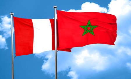 bandera de peru: bandera de Per� con la bandera de Marruecos, 3D