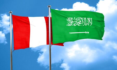 bandera de peru: bandera de Perú con la bandera de Arabia Saudita, 3D