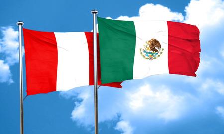 bandera de peru: bandera de Perú con la bandera de México, 3D Foto de archivo