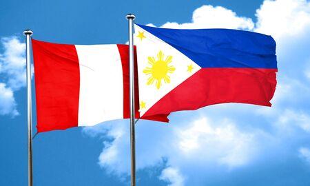 bandera de peru: bandera de Per� con la bandera de Filipinas, 3D