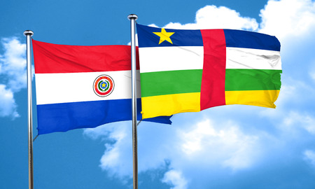 bandera de paraguay: bandera de Paraguay con bandera de la República Centroafricana, 3D