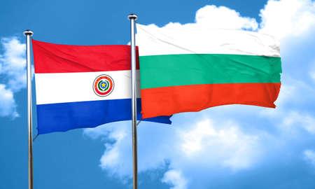bandera de paraguay: bandera de Paraguay con la bandera de Bulgaria, 3D