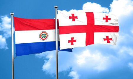 bandera de paraguay: bandera de Paraguay con la bandera de Georgia, 3D