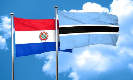 bandera de paraguay: bandera de Paraguay con la bandera de Botswana, 3D Foto de archivo