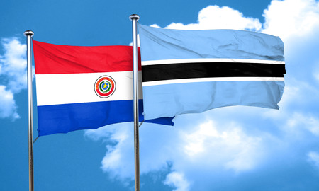 paraguay: Paraguay flag with Botswana flag, 3D rendering Stock Photo