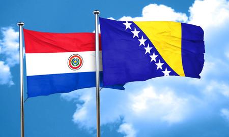 bandera de paraguay: bandera de Paraguay con la bandera de Bosnia y Herzegovina, 3D