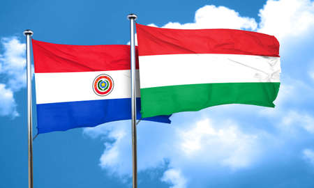bandera de paraguay: bandera de Paraguay con la bandera de Hungría, 3D