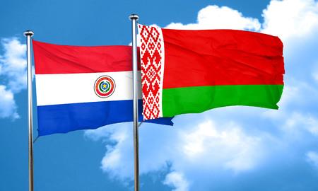 bandera de paraguay: bandera de Paraguay con bandera de Bielorrusia, 3D