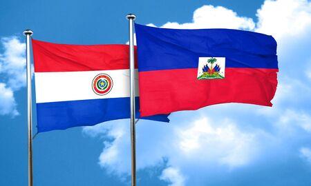 bandera de paraguay: bandera de Paraguay con la bandera de Haití, 3D Foto de archivo