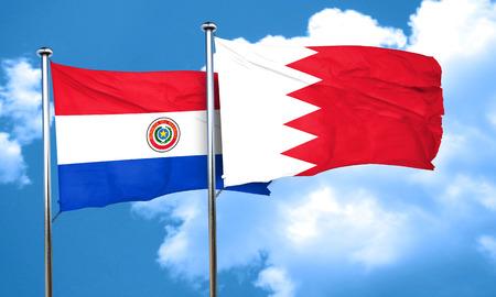 bandera de paraguay: bandera de Paraguay con la bandera de Bahrein, 3D Foto de archivo