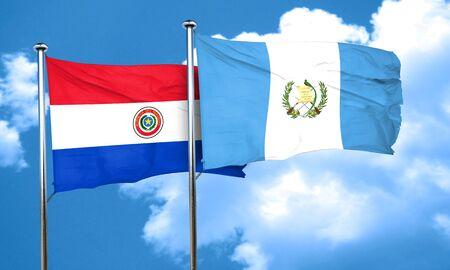 bandera de guatemala: bandera de Paraguay con la bandera de Guatemala, 3D Foto de archivo
