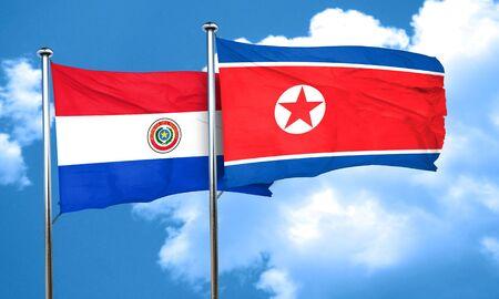 bandera de paraguay: bandera de Paraguay con la bandera de Corea del Norte, 3D