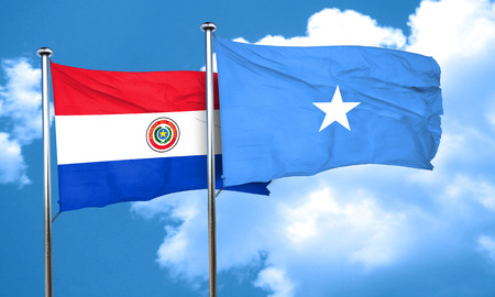 somalian culture: Paraguay flag with Somalia flag, 3D rendering Stock Photo