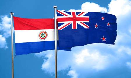 bandera de paraguay: Paraguay flag with New Zealand flag, 3D rendering Foto de archivo
