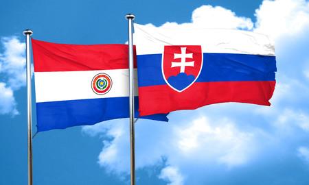 bandera de paraguay: bandera de Paraguay con la bandera de Eslovaquia, 3D Foto de archivo