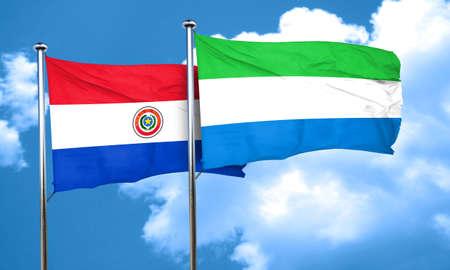bandera de paraguay: Paraguay flag with Sierra Leone flag, 3D rendering