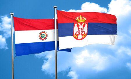bandera de paraguay: bandera de Paraguay con la bandera de Serbia, 3D