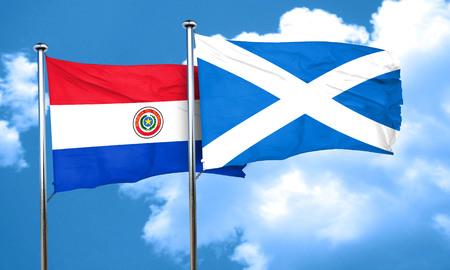 bandera de paraguay: bandera de Paraguay con la bandera de Escocia, 3D