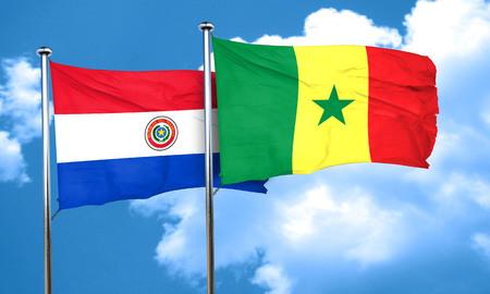 bandera de paraguay: bandera de Paraguay con la bandera de Senegal, 3D Foto de archivo