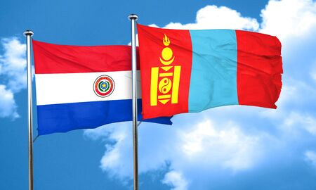 mongolia: Paraguay flag with Mongolia flag, 3D rendering